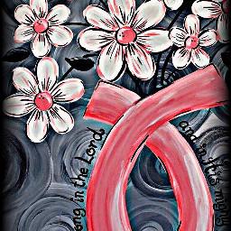 freetoedit pink ribbon flowers white