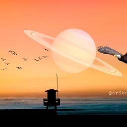madewithpicsart remixit moon saturn sunset freetoedit