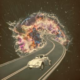 surreal surrealistic retrocar galaxy