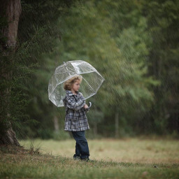 rain childhood umbrella green boy