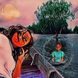 freetoedit boat woman boy son scenery