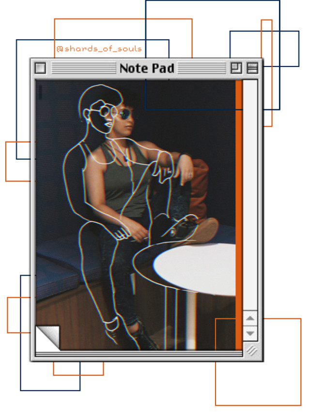 I'm not sure how I feel about this edit. What do you think? (Original photo taken by @jtpepper02 ) #freetoedit #me #portrait #photography #glitch #computer #note #geometric #orange #blue  #pose #girl #woman #model #sunglasses #cool #sketch #outline #college
