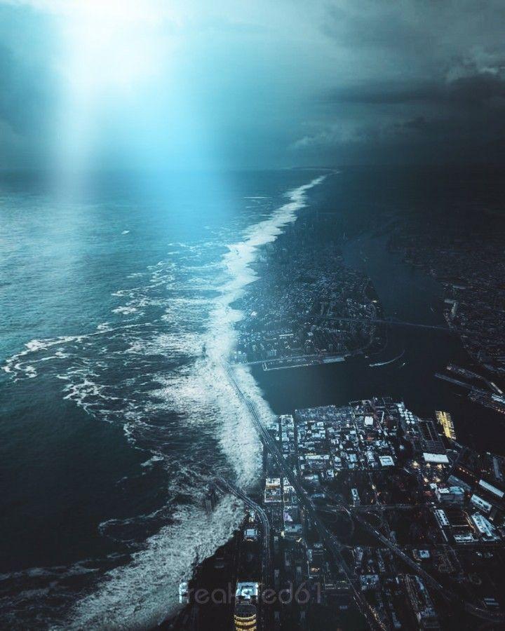 ERASE  . .  #mood #fantasy #edited #surreal #disaster #tsunami #wave #city #light #beam #surrealart #surrealism #art #interesting #becreative #creativity #myedit #effect