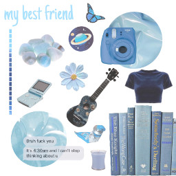 freetoedit blue aesthetic butterfly ukelele flower candle blue books