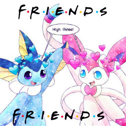 friends vaporeon sylveon pokemon eeveelution freetoedit