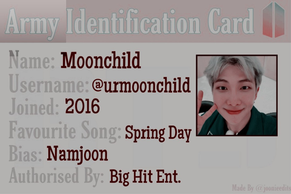 My Army Identification Card 🙂💜 Thanks @joonieedits for this challenge, it makes my Monday a bit better hehe 💜💞💜 Hope my friends will join💖:  @d-stylegirl  @_babytaetae  @emptycandywrappers  @-liliedits-  @kosar-bts  (I'll hide this post later)  #bts #namjoon #freetoedit
