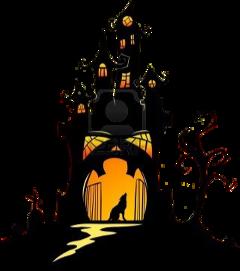 hauntedhouse ghost pumpkin house moon stickersfreetoedit freetoedit