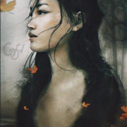 freetoedit autumn leaves woman