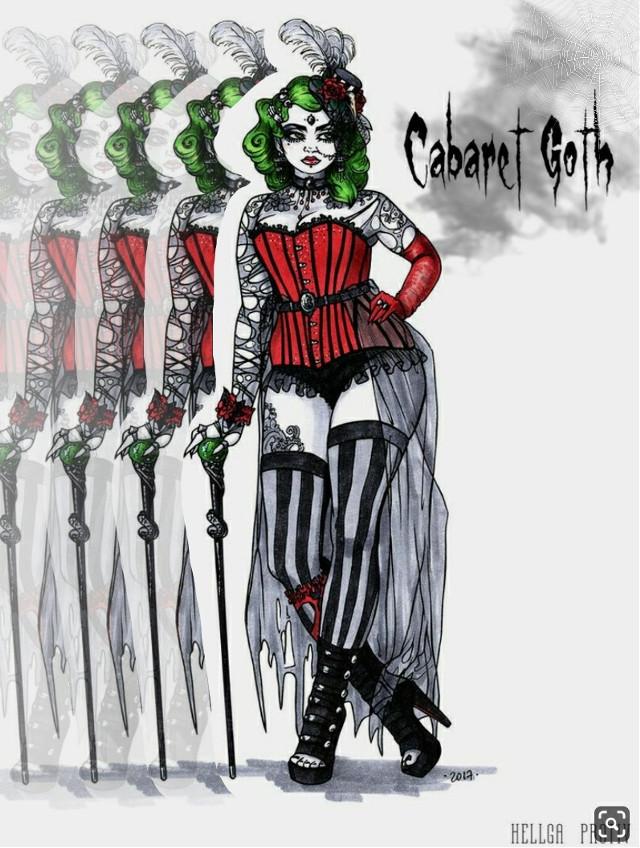 #raddile #red #greeneyes #cabaret #caberetgoth #gothic #drawing