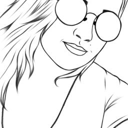 freetoedit outlinesart girl drawing