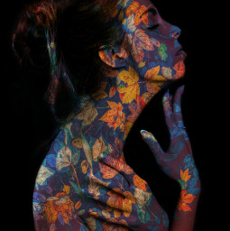 doubleexposure leaves girl art autumn