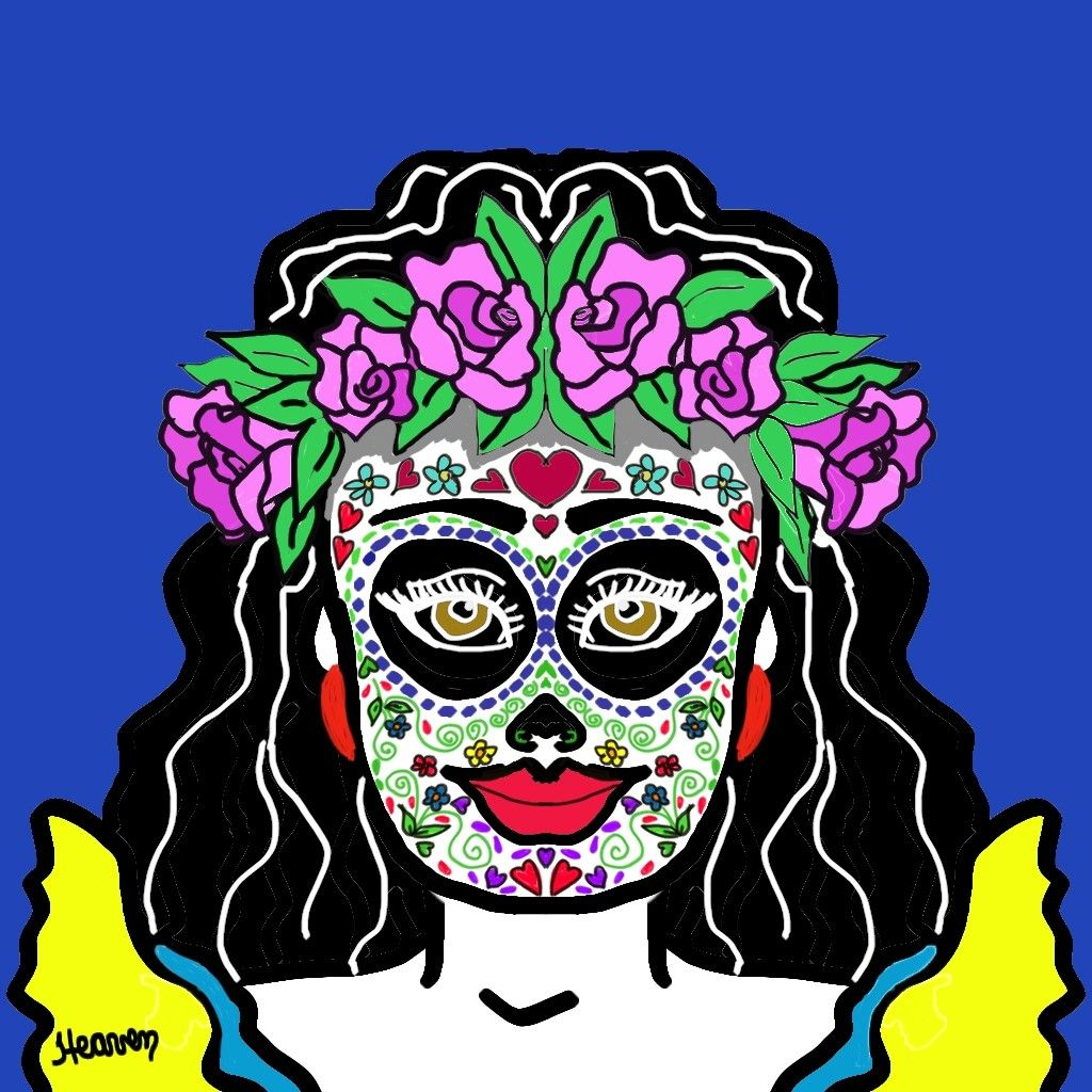 Dia De Los Muertos #diadelosmuertos #drawingart #creativeart #digitalart #digitaldrawing #dibujo #midibujo #illustration #illustrationdaily #mydrawing #flowers #flores #myart #lady #paintedface