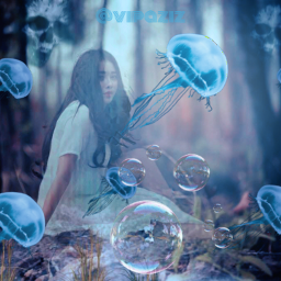 jellyfish ircjellyfish blue spooky gosth heloween bubbles nature beautiful awesome