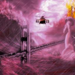 freetoedit destruction statueofliberty fire ocean