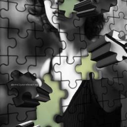 freetoedit puzzleeffect 3dart woman blackandwhite