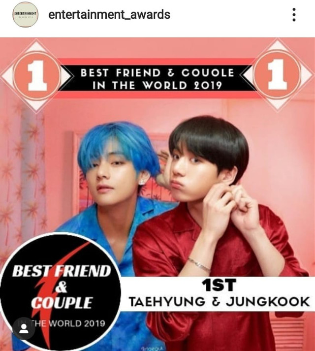 Wow best friend and couple award goes to Vkook lil update on instagram of entertainment_awards 💞💞💞💞