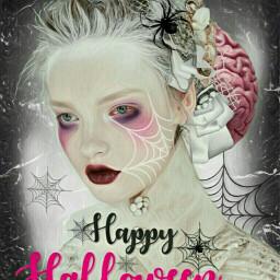 freetoedit halloween girl spiders spiderwebs