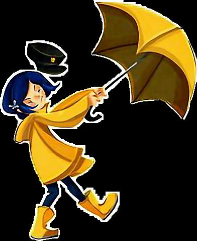 #coraline #cartoon #niña #caricatura #dibujosanimados #amarillo #paraguas #sombrilla #viento #cuerpocompleto #perfil #caminando #gestos #muecas #zeezii88 @zeezii88