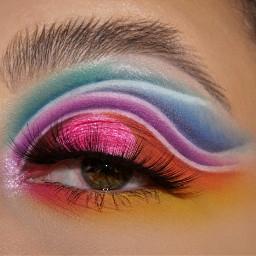 freetoedit rainbow cutcrease makeup picsartvip