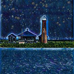 background night lighthouse shack midnight