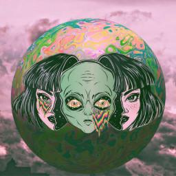 alien girl dope acid trippy freetoedit