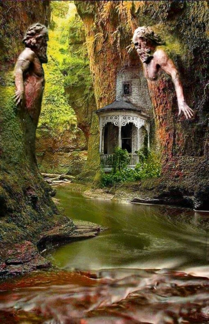 #freetoedit #water #river #man #nature #Outdoors #creepy #weird #odd #spooky #house #strange #creek #stream #remixit #trees #tree