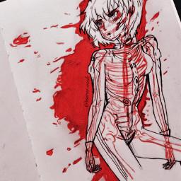 art anime blood bloody dark