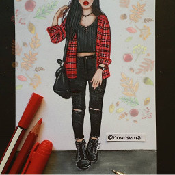 girl red black outfit drawings freetoedit