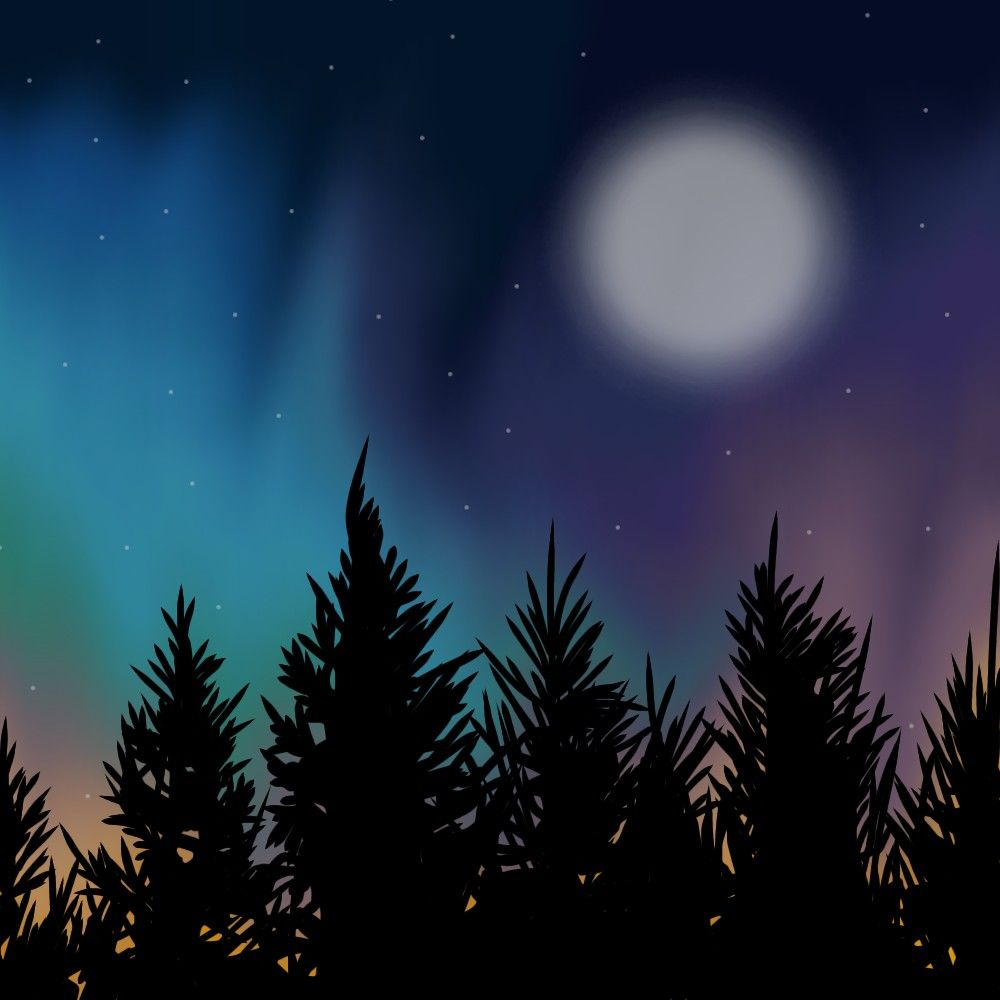 #art #draw #drawing #rysunek #rysowanie #doodle #doodles #forest #at #night #forestatnight