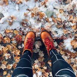 autumn autumleaves leaves shoes snow freetoedit