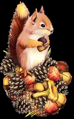 ftestickers watercolor squirrel pinecones autumn freetoedit