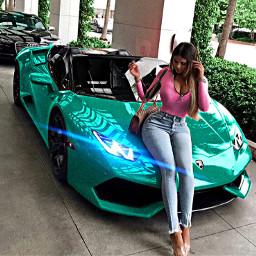 girl lamborghini cargirl richgirl