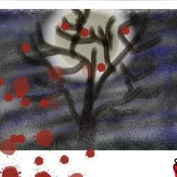 freetoedit polaroid blood tree night dcnightforest nightforest