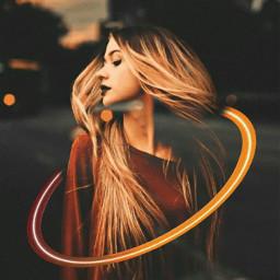 freetoedit girl hair golden red srcneoncircle
