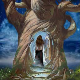 doubleexposure doubleexpesure treehouse tree womaninblack freetoedit
