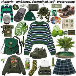 green harrypotter slytherin aesthetic nichememes