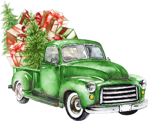 watercolor christmas truck christmastruck tree freetoedit