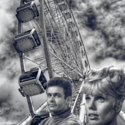 ferriswheel vintage blackandwithe couple clouds freetoedit