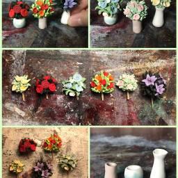 flowers bouquet pretty polymerclay miniature freetoedit