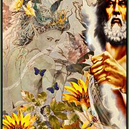 freetoedit god goddess garden butterflies