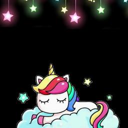 unicorn sleep neon night unicornio freetoedit