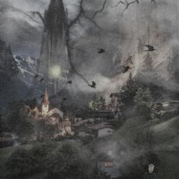 freetoedit switzerland village dark sky