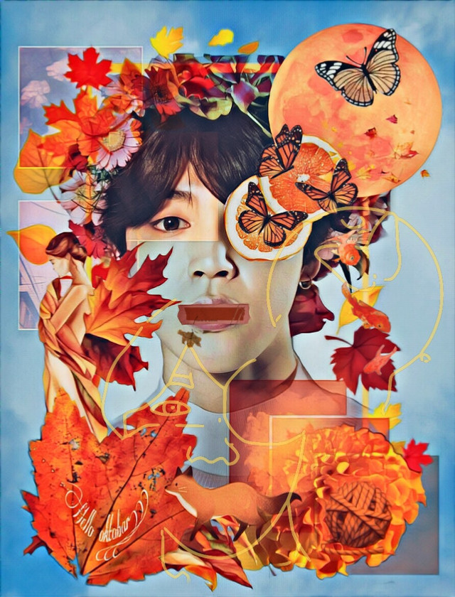 Vote link👉 https://picsart.com/i/312348939004201?challenge_id=5dd7e2de0b14fe4ebdab5d99 #freetoedit #collage #autumn #btsjimin #btsedit #toomuch #fox #leaf #portrait #orange #orangeaesthetic #complimentary  #srcautumnframe #autumnframe
