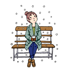 ftestickers girl bench sitting winter freetoedit