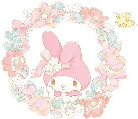 mymelody wreath flower bird ribbon freetoedit