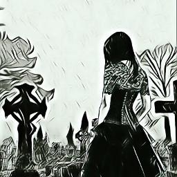 rain cemetery sadgirl sad dark dcoutlineart outlineart