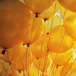 yellow aesthetic balloons freetoedit