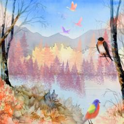 freetoedit watercolor nature landscape trees