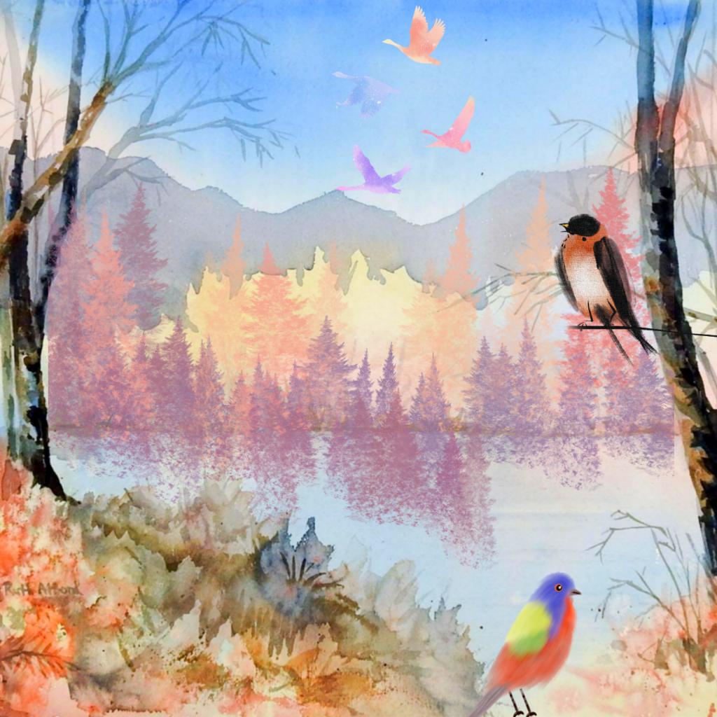 #freetoedit #watercolor #nature #landscape #trees #birds #autumn #fallcolors #colorful #myedit #madewithpicsart