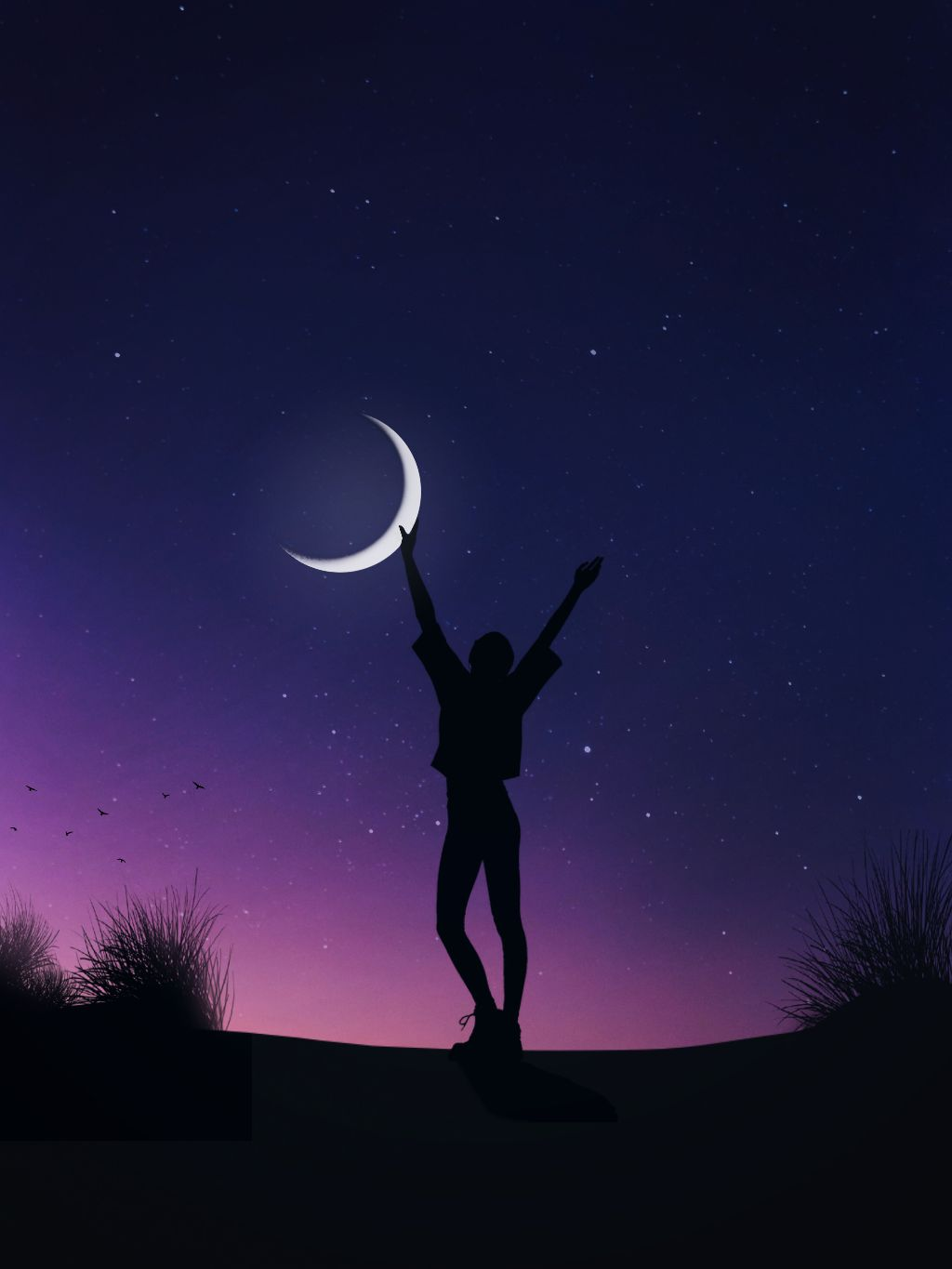 """""""I NeVeR DreaMeD aBouT SuCceSs,i WorKeD fOr iT.🕊""""  https://m.youtube.com/watch?v=-ihs-vT9T3Q . . .  #purple #success #power #stars #moon #dream #fulfil #imagination #happiness #madewithpicsart #silhouette #sky #wallpaper #background  #freetoedit"""